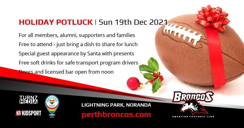 Perth Broncos Holiday Potluck Lunch Sun 19th Dec 2021