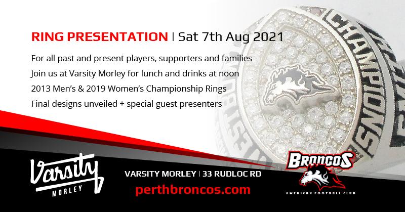 Perth Broncos Varsity Morley Championship Ring Presentation Sat 7th Aug 2021